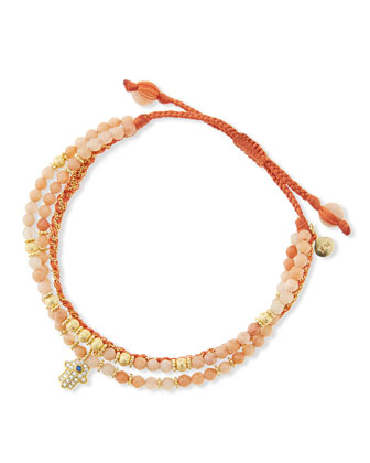 3-Strand Rose Beaded Bracelet with Hamsa Charm