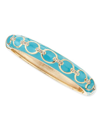 Chain Link Enamel Bangle, Turquoise
