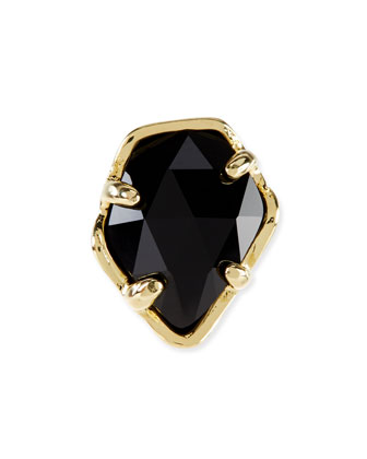 Black Opaque Glass Facet Charm