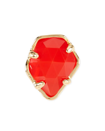 Bright Red Opaque Glass Facet Charm