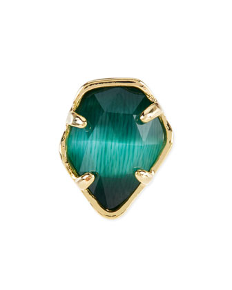 Emerald Cat's Eye Facet Charm