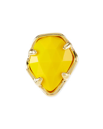 Bright Yellow Opaque Glass Facet Charm