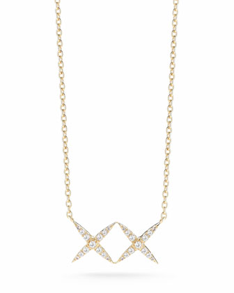 Vida Pave White Topaz X Necklace