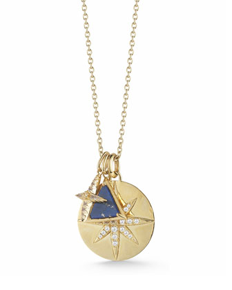 Balaton Charm Necklace with Lapis & Topaz, 36