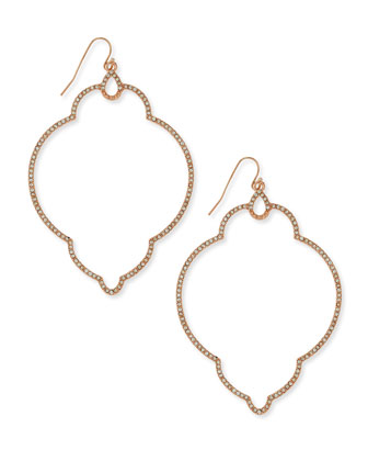 Deco Open Pave Earrings, Rose Golden