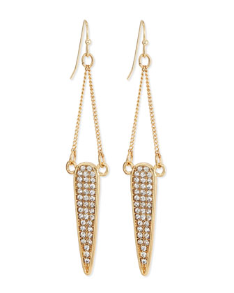 Pave Dangle Teardrop Earrings, Clear/Golden