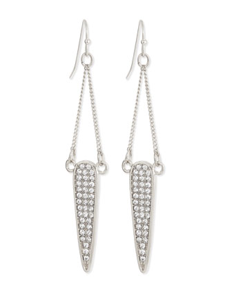 Pave Dangle Teardrop Earrings, Silvertone