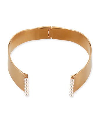 Lia 24k Gold-Plated Pearl Choker Necklace