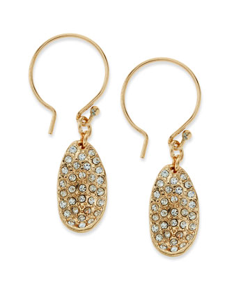 Pave Teardrop Stone Earrings, Clear/Golden