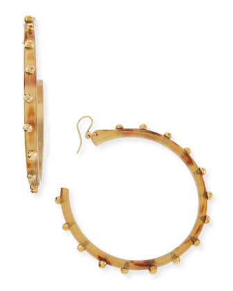 Duara Studded Hoop Earrings, Light Horn