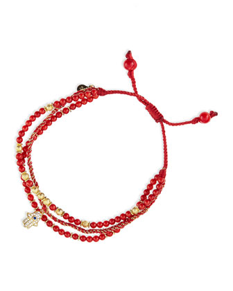 3-Strand Red Beaded Bracelet with Hamsa Charm