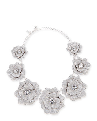 rose garden pave crystal necklace, silvertone