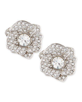 rose garden pave crystal stud earrings