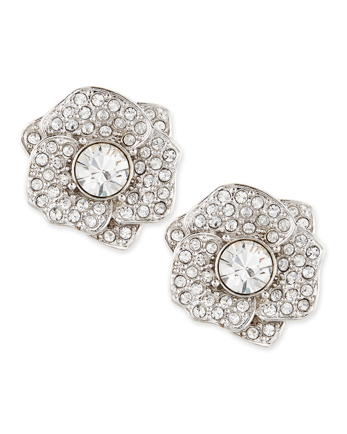 rose garden pave crystal stud earrings   kate spade new york   Silver