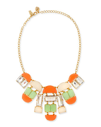 varadero tile necklace, coral/mint