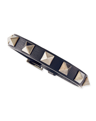 Small Rockstud Leather Buckled Bracelet, Navy