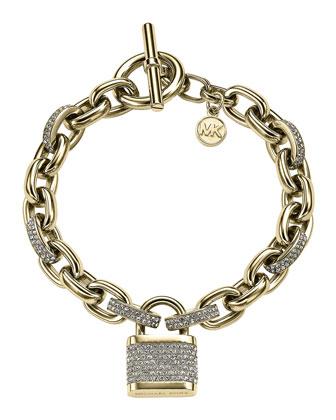 Pave Padlock Bracelet, Golden