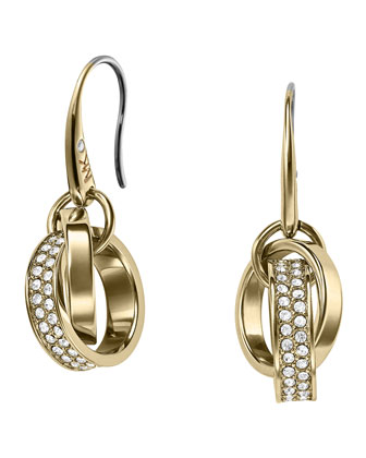 Pave Link Earrings, Golden