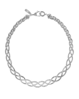 Classic Chain Silver Diamond Pave Collar Braided Necklace with Diamonds