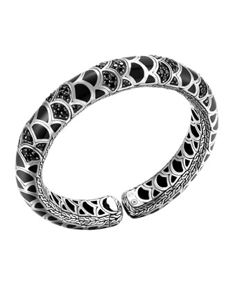 Naga Silver Lava & Enamel Slim Flex Cuff with Black Enamel and ...