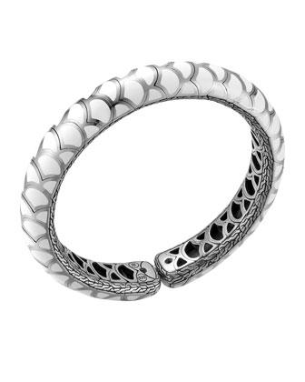 Naga Silver Enamel Slim Flex Cuff with White Enamel, Size M