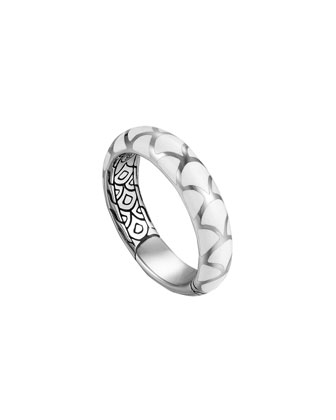 Naga Silver Enamel Band Ring with White Enamel, Size 7