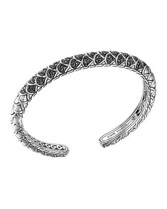 Naga Silver Lava Slim Kick Cuff with Black Sapphire, Size M