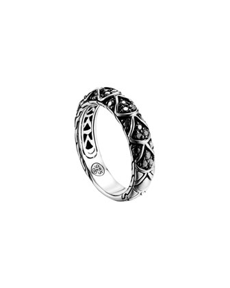 Naga Silver Lava Slim Band Ring with Black Sapphire, Size 7