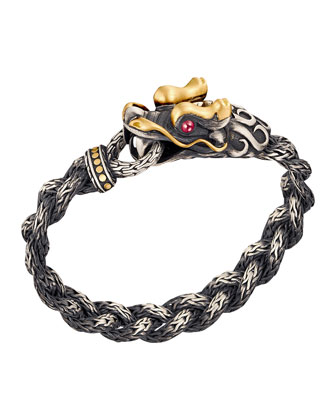 Batu Naga Gold & Silver Dragon Head Bracelet with Black Oxidation, Size ...