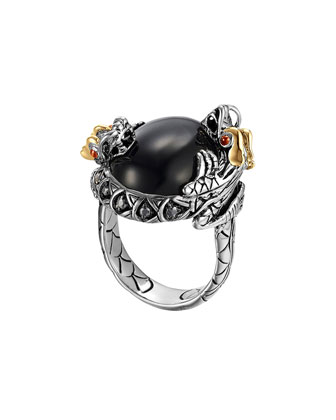 Batu Naga Silver & 18k Gold Dragon Ring with Black Chalcedony