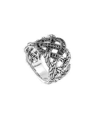 Classic Chain Silver Lava Band Woven Braided Ring with Black Sapphire, Size ...