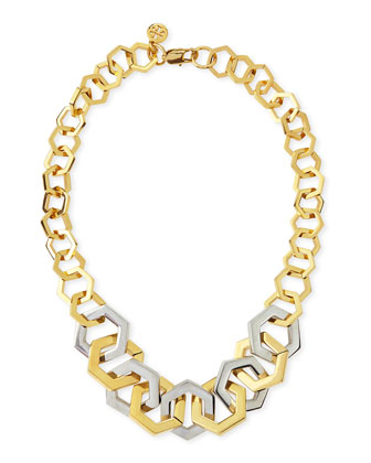 Two-Tone Metal Hexagon Necklace