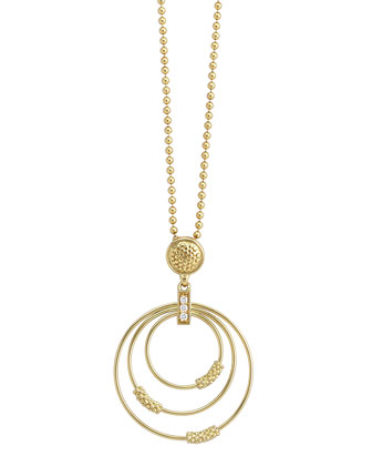 18k Gold Caviar 3-Hoop Pendant Necklace with Diamonds