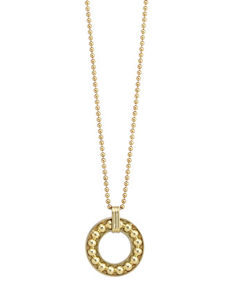 18k Gold 13mm Enso Pendant Necklace with Caviar