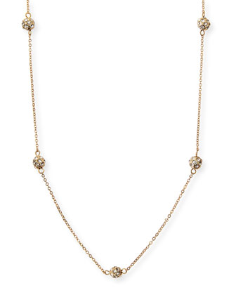 Long Pave Ball Necklace, Gold Plate