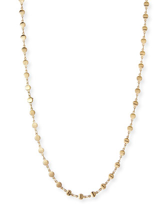 Micro Disc Long Necklace, Gold Plate