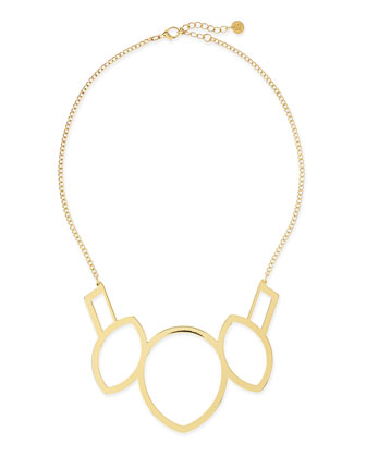 Venice Geometric Necklace, Gold Plate