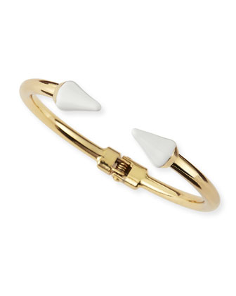 Enamel Spike Hinge Cuff, Golden
