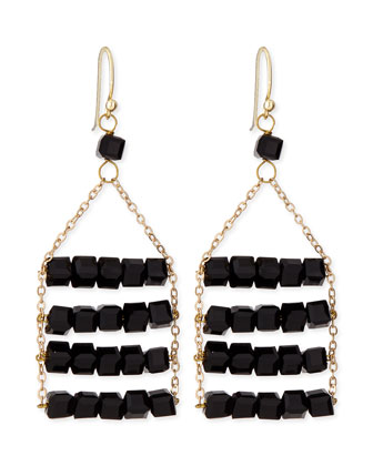 Beaded Layer Earrings, Black