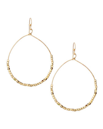 Micro Beaded Hoop Earrings, Golden