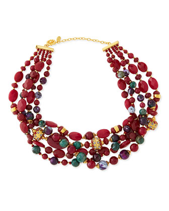 Chunky Multi-Stone Necklace, Deep Red