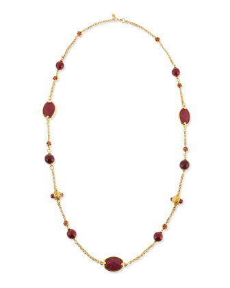 Deep Berry Station Necklace, 42