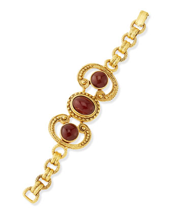 24k Plated Deep Red Stone Swirl Bracelet