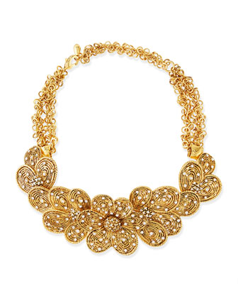 Gold-Plated Flower Necklace with Crystals