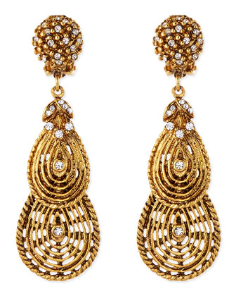 Gold-Plated Flower Clip-On Earrings with Crystals