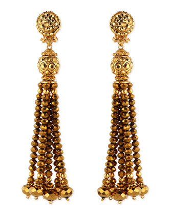 Golden Crystal Tassel Clip-On Earrings