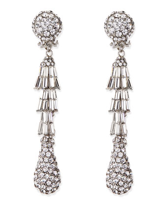 Silver-Plated Deco Crystal Clip-On Earrings