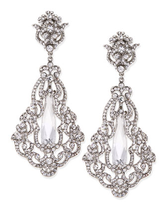 Crystal & Cubic Zirconia Clip-On Earrings, Silver