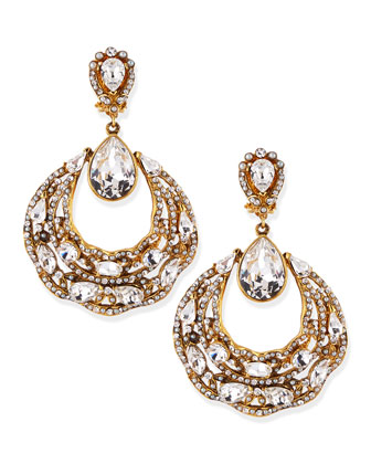 Gold-Plated Ornate Hoop Earrings