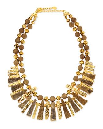 Gold-Plated & Druzy Spike Necklace